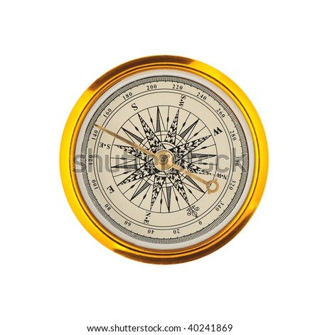 Compass. The device for the instruction of a direction in a gold frame - stock photo