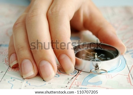 compass to determine the path and navigation. - stock photo