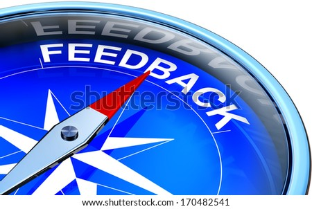 compass with a feedback icon - stock photo