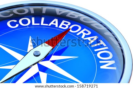 compass with collaboration icon - stock photo