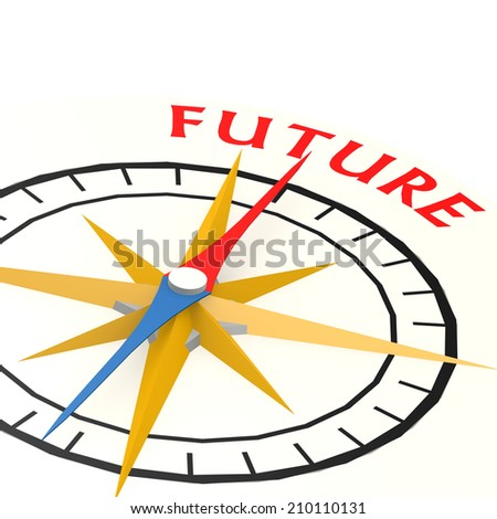 Compass with future word - stock photo