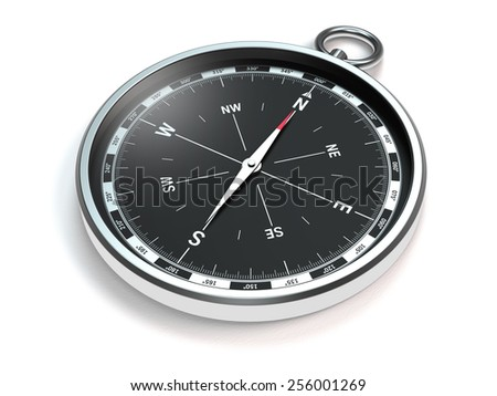 compass with modern black scale on white background - stock photo