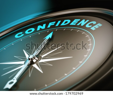 Compass with needle pointing the word confidence, self esteem concept with blue and brown tones. Focus on the top  - stock photo