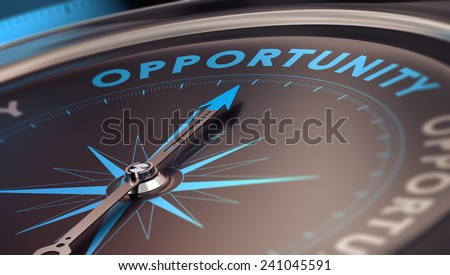 Compass with needle pointing the word opportunity, concept image to illustrate business opportunities and strategy. - stock photo