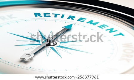 Compass with needle pointing the word retirement, concept image to illustrate retirement planning - stock photo