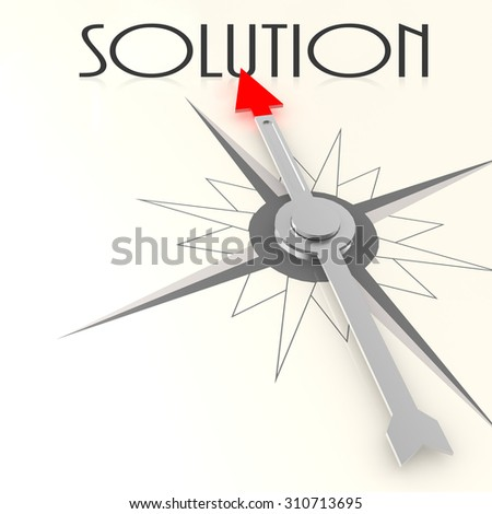 Compass with solution word image with hi-res rendered artwork that could be used for any graphic design. - stock photo