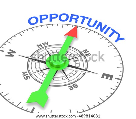 compass with the needle pointing the word opportunity, 3d rendering