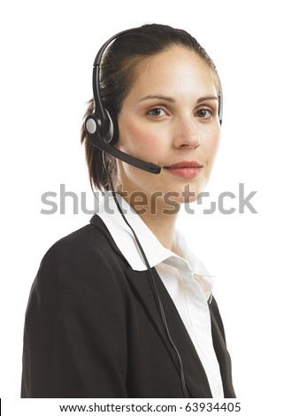 Compassionate telephone operator - stock photo