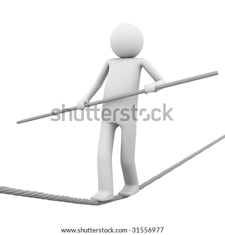 compatition, business, sport, life: man walking on the pore trying to hold a balance in the changing world (oportunities) - stock photo