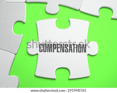 Compensation - Jigsaw Puzzle with Missing Pieces. Bright Green Background. Close-up. 3d Illustration. - stock photo