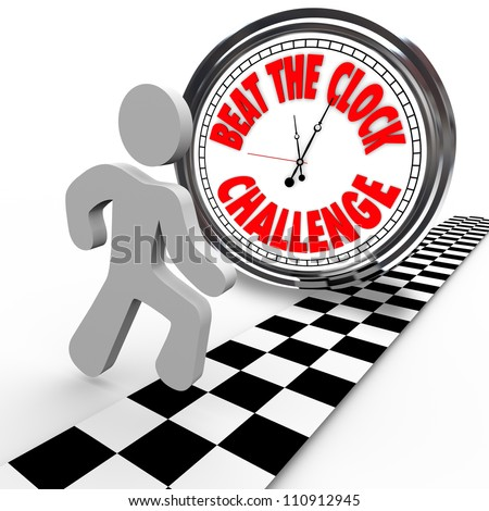 Compete in the Beat the Clock Challenge with a runner or competitor crossing the finish line to win and succeed in beating the timer with the best time - stock photo