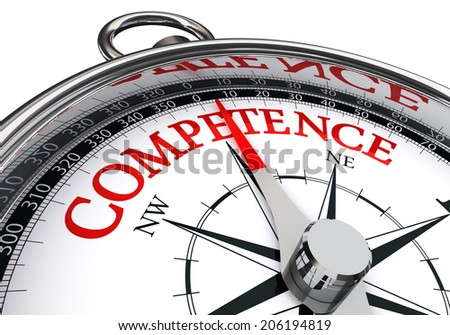 competence conceptual compass isolated on white background - stock photo