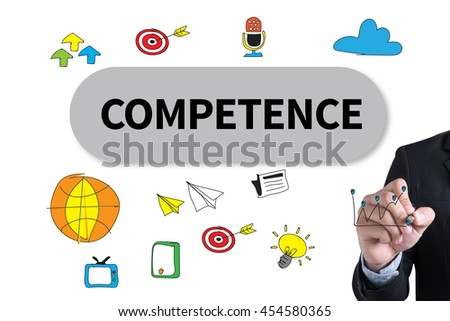COMPETENCE  ( Skill Ability Proficiency Accomplishment) Businessman hand writing with black marker on white background - stock photo