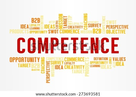 COMPETENCE word cloud with business concept in white background - stock photo