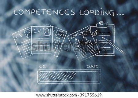 competences loading: CV and shortlist of candidates with progress bar, concept of building a great resume
