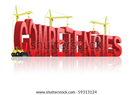 competencies under construction build competences or competencies in german - stock photo