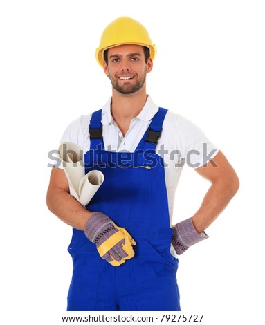Competent construction worker. All on white background. - stock photo