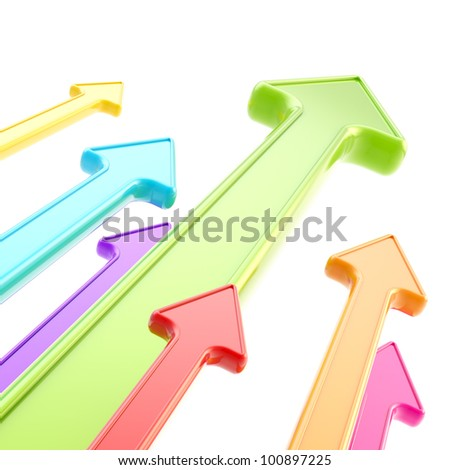 Competition and economical growth as abstract background of glossy arrows on white - stock photo