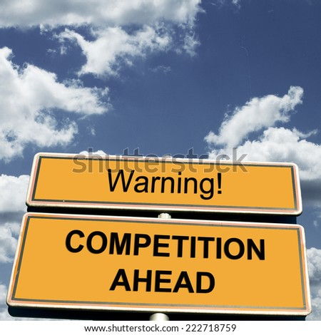 Competition Business Concept with Road Sign - stock photo