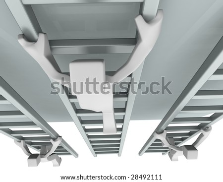 Competition challenge concept 3d mans climbing stair to reach the top illustration - stock photo
