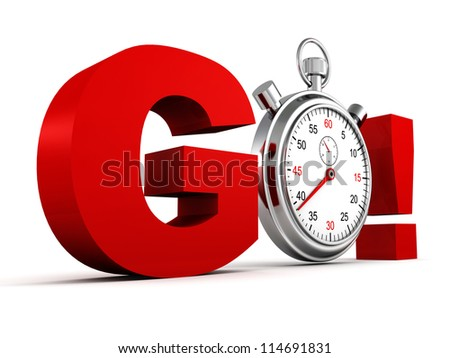 competition concept red GO letters with classic stopwatch - stock photo