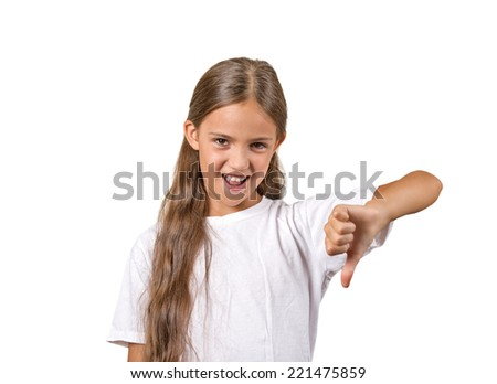 Competition failed. Portrait sarcastic teenager girl showing thumb down gesture happy someone made mistake lost isolated white background.Human emotion facial expression feeling attitude body language - stock photo