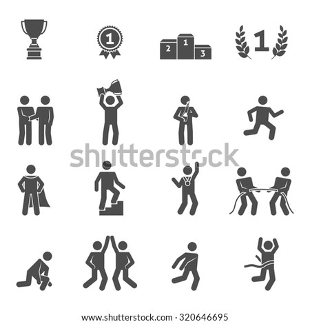 Competition icons black set with peak performance victory top symbols isolated  illustration