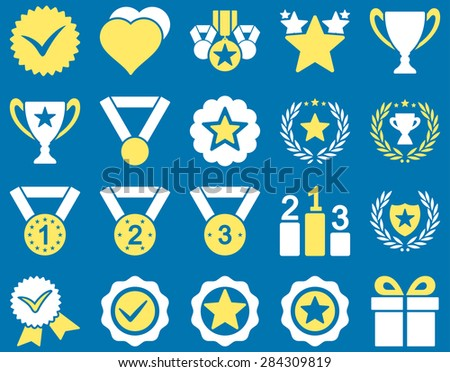 Competition & Success Bicolor Icons. This icon set uses yellow and white colors, rounded angles, blue background. - stock photo