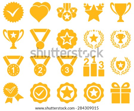 Competition & Success Bicolor Icons. This icon set uses yellow color, rounded angles, white background. - stock photo