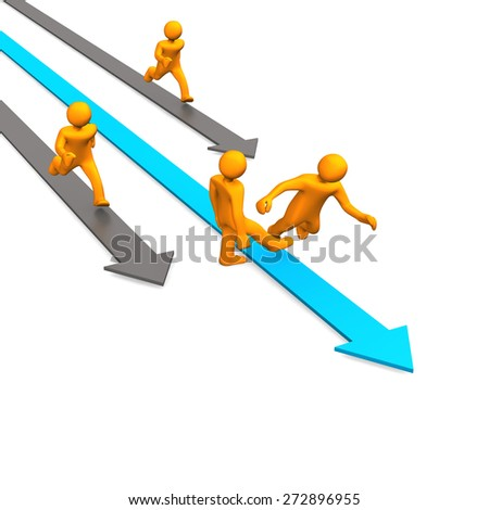 Competition with orange cartoon characters on the arrows. White background. - stock photo