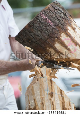 Competition Wood Chopping - stock photo