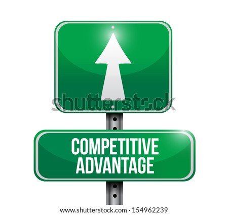 competitive advantage road sign illustration design over a white background - stock photo