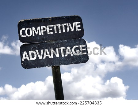 Competitive Advantage sign with clouds and sky background - stock photo