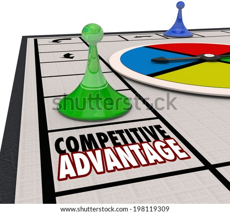 Competitive Advantage words board game piece moving around to be the winner - stock photo