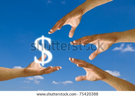 Competitor hand to strive for dollar icon from small hand