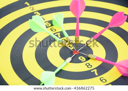 Competitors marketing concept.Dart is an opportunity and Dartboard is the target - stock photo
