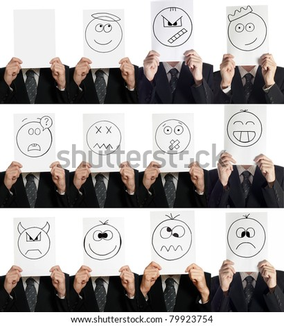 Compilation (collage ) of man with the painted smiles on the sheet of paper over his face isolated on white - stock photo