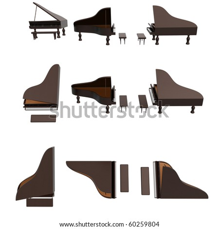 Compilation of a piano photo session - stock photo
