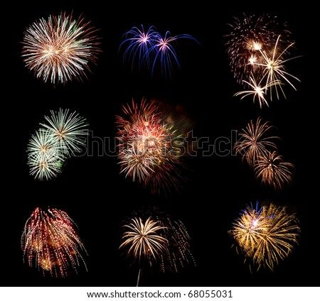 Compilation of Fireworks Against a Black Sky - stock photo
