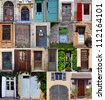 Compilation of old doors (French) - stock photo
