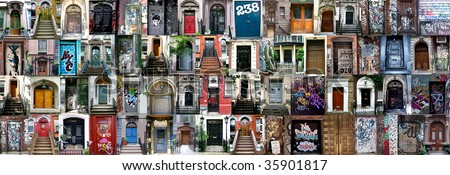 Compilation of old doors (New York, America) - stock photo