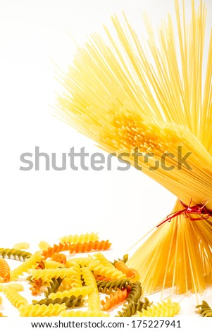 Compilation of raw pasta isolated. Italian food - stock photo