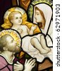 Compilation of  stained glasses showing Holy Family - stock photo