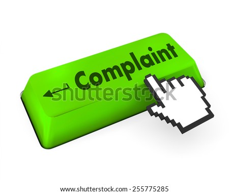 Complaint button keyboard with pen icon internet concept - stock photo
