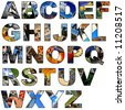Complete alphabet made of collage of photos - stock vector