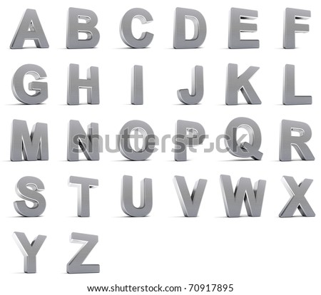 Complete alphabet set in brushed chrome objects - stock photo