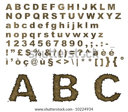 Complete alphabet where letters are made of on an old burnt parchment background
