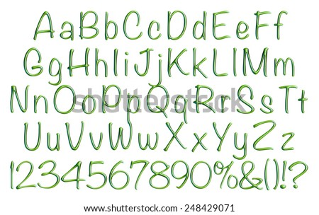 Complete alphabet with digit sign set in green on isolated white