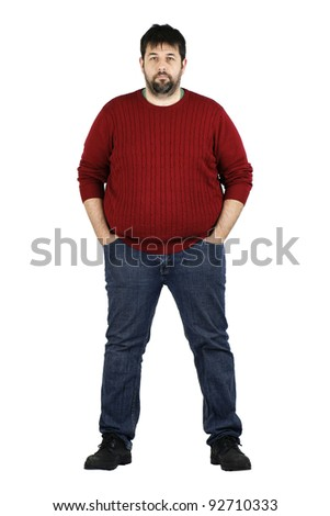 Complete body shot of a big guy smiling looking at camera, real ordinary middle age bearded white man with weight problem isolated over white - stock photo