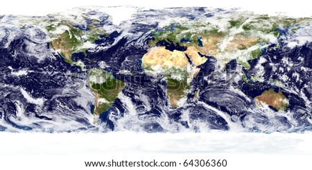Complete Earth view from space. Digitally combined from a collection of satellite-based observations. From about 700km. - stock photo